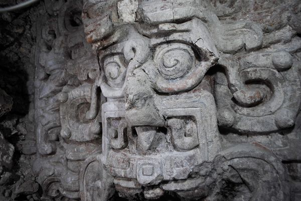 Stone face in Maya temple