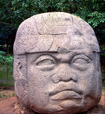 Olmec stone head sculpture