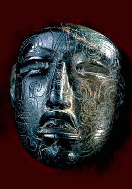Olmec mask showing tattoo placement